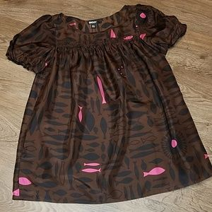 DKNY 100% Silk Frock Blouse Brown w/ Pink Fish